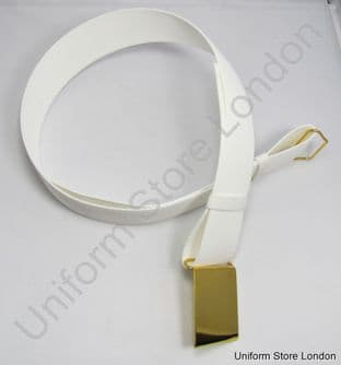 Courlene Belt White With Plain Gold Buckle 2 Loops 57mm R700