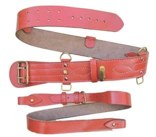 Dusty Orange Sam Browne Belt + Cross Shoulder Strap Leather Brass Sam Brown R1993
