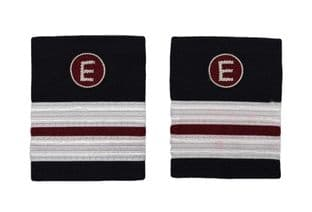 Epaulette Aircraft Engineers 2 x 1/2 Silver-Maroon with E on Maroon