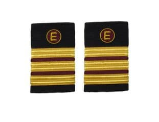 Epaulette Aircraft Engineers 3 x 1/2 Gold-Maroon with E on Maroon R1846