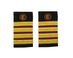 Epaulette Aircraft Engineers 4 x 1/2 Gold-Maroon with E on Maroon R1845