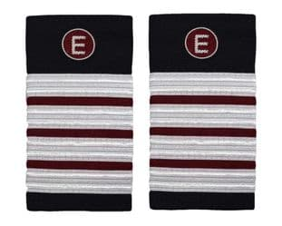 Epaulette Aircraft Engineers 4 x 1/2 Silver-Maroon with E on Maroon