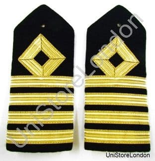 Epaulette Merchant Navy Hard Curved Chief,  Captain  R952