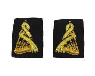 Epaulette Piper Bagpiper and Drum Band Gold on Black