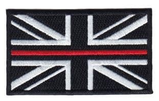 Fire Service Thin Red Line Union Jack Embroidered Patch-hook & Loop Backing
