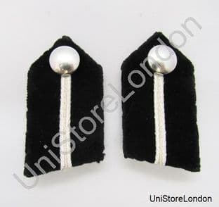 Gorget Collar Patch Black Silver Russia Braid L 2 1/2'' Clip at Back R1127