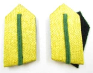 Gorget Collar Patch Gold with Green Russia Braid 3 Inch Long Velcro Backing