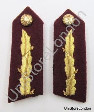 Gorget Collar Patch Maroon Gold Leaf L 3 3/4' ' General Officers R853