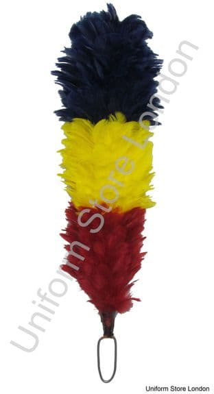 Hackles Plumes Blue Yellow Red 12 Inch