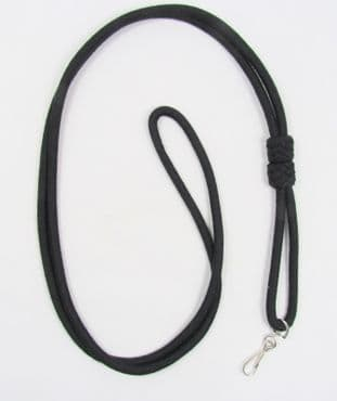 Lanyard DoubleCord  Black with Chrome Hook R1609