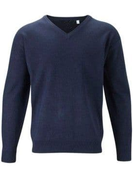 Mens V-Neck Acrylic Jumper Pullover Deluxe Sweater Black R966