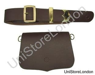 Music Card Pouch Cross Belt Brown Leather Gold Fittings R1411