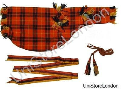 Piper Bag cover, Ribbon & Cord Tartan Orange Red Blue R0047
