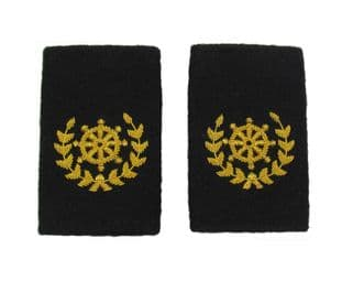 Quarter Master Epaulette Steering Wheel Wreath Embroidered Gold Bullion Black Felt