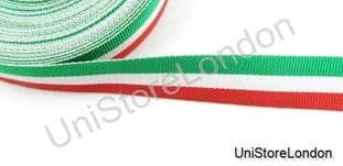 Ribbon Green White Red 16mm Wide. R937