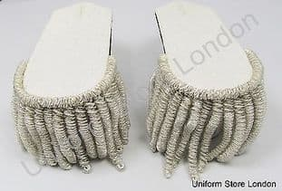 Shoulder Board all Silver with Silver Wire Fringe Sold Pair R1517