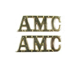 Shoulder Title AMC Gold Shank & pin Size 40 x 15 mm Sold Pair R1713
