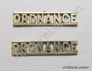 Shoulder Title ORDNANCE Rank Marking Gold Brass R1097