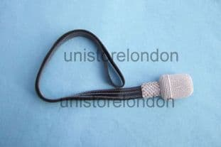 Sword Knot Silver, Black Strap, Silver Stitching - R295