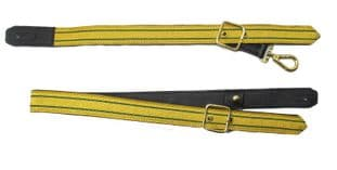 Sword Sling Gold 2 Green Strips on Black Leather Gold Buckle Long & Short R1807
