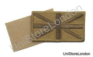 Union Jack Cloth Badge Embroidered Sand Velcro Backing R741