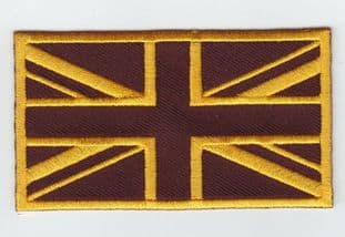 Union Jack Golden Brown Flag Embroidery Sew On Iron On Patch Badge UK