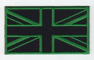 Union Jack Green Black Flag Embroidery Sew On Iron On Patch Badge UK