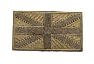 Union Jack Iron on or Sew on Cloth Badge Embroidered Sand Heat Seal Backing R789