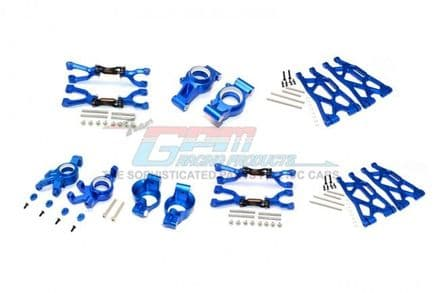 ALUMINUM FRONT&REAR UPPER+LOWER ARMS+FRONT C HUBS+FRONT KNCUKLE ARMS SET FOR X-MAXX -92PC SET BLUE