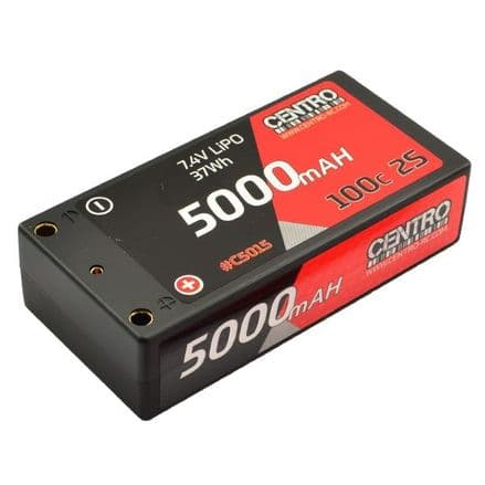 CENTRO 5000MAH 2S 7.4V 100C HARDCASE SHORTY LIPO BATTERY